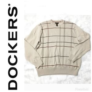Dockers Mens Brown Red Striped Sweater Size L.